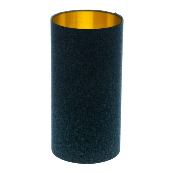 Navy Blue Wool Tall Drum Lampshade Brushed Gold Inner