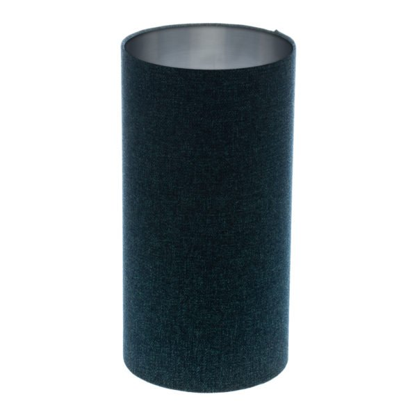 Navy Blue Wool Tall Drum Lampshade Brushed Silver Inner