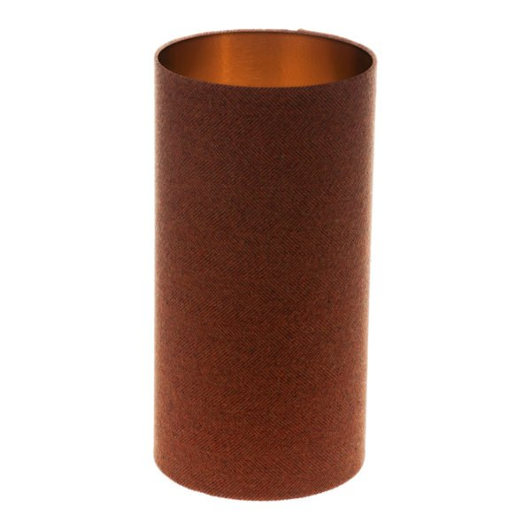 Rust Herringbone Tall Drum Lampshade Brushed Copper Inner