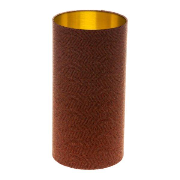 Rust Herringbone Tall Drum Lampshade Brushed Gold Inner