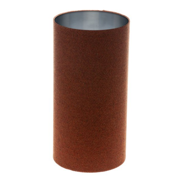Rust Herringbone Tall Drum Lampshade Brushed Silver Inner
