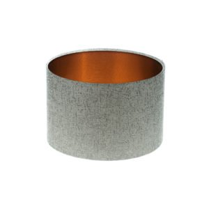 Serpa Dove Grey Drum Lampshade Brushed Copper Inner