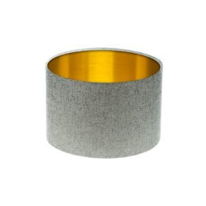 Serpa Dove Grey Drum Lampshade Brushed Gold Inner