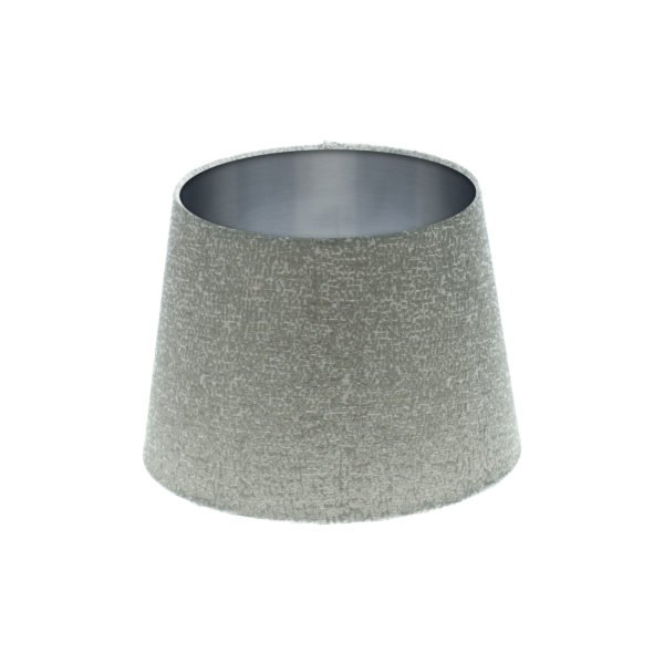 Serpa Dove Grey French Drum Lampshade Brushed Silver Inner