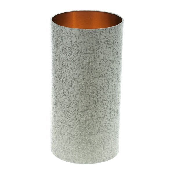 Serpa Dove Grey Tall Drum Lampshade Brushed Copper Inner