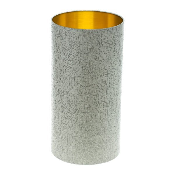 Serpa Dove Grey Tall Drum Lampshade Brushed Gold Inner
