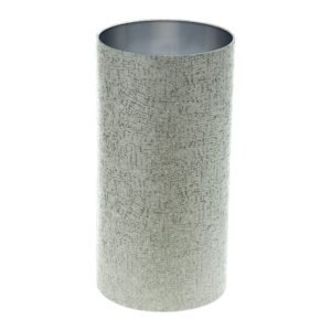 Serpa Dove Grey Tall Drum Lampshade Brushed Silver Inner