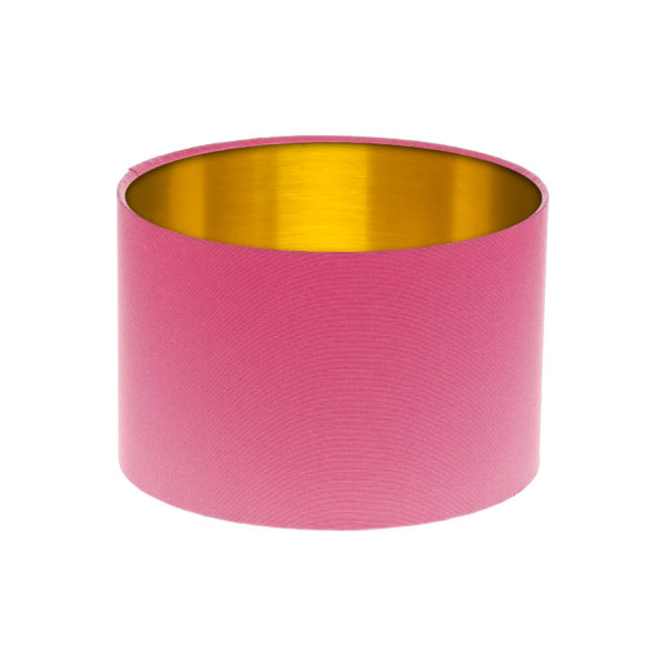 Sorbet Bright Pink Drum Lampshade Gold Inner