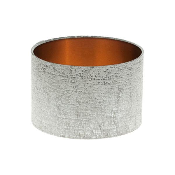 Zink Grey Velvet Drum Lampshade Brushed Copper Inner