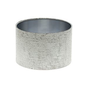 Zink Grey Velvet Drum Lampshade Brushed Silver Inner