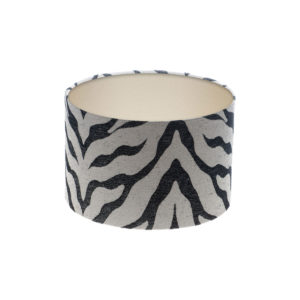 Tiger Stripe Grey Black Drum Lampshade Champagne Inner