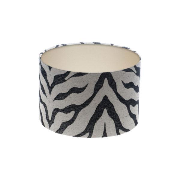 Tiger Stripe Grey Black Drum Lampshade Champagne Inner