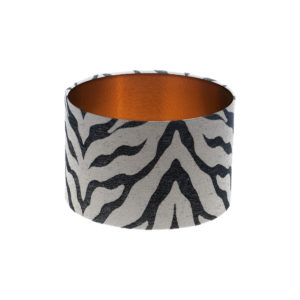 Tiger Stripe Grey Black Drum Lampshade Brushed Copper Inner