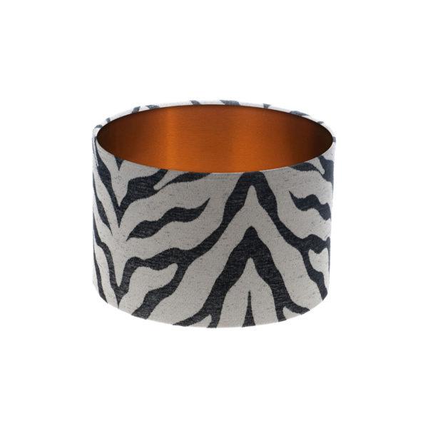 Tiger Stripe Grey Black Drum Lampshade Brushed Copper Inner