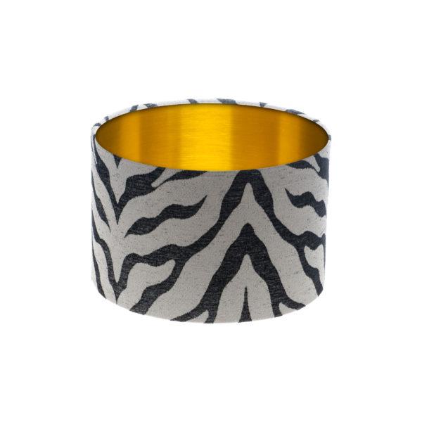 Tiger Stripe Grey Black Drum Lampshade Brushed Gold Inner