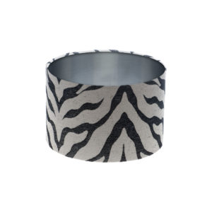 Tiger Stripe Grey Black Drum Lampshade Brushed Silver Inner