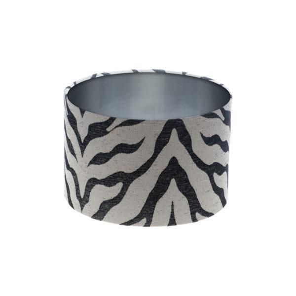 Tiger Stripe Grey Black Drum Lampshade Brushed Silver Inner