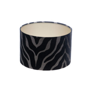 Tiger Stripe Black Grey Drum Lampshade Champagne Inner
