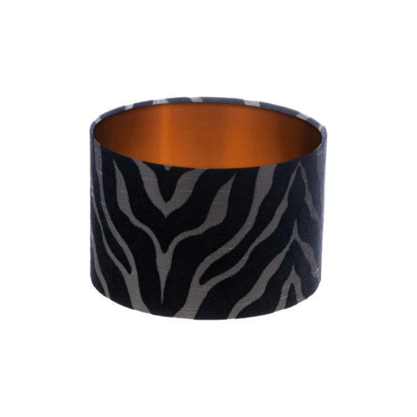 Tiger Stripe Black Grey Drum Lampshade Brushed Copper Inner