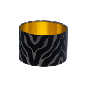 Tiger Stripe Black Grey Drum Lampshade Brushed Gold Inner