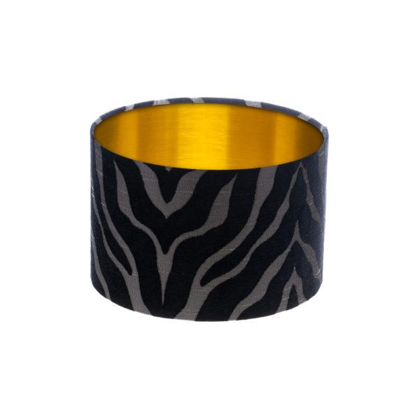 Tiger Stripe Black Grey Drum Lampshade Brushed Gold Inner