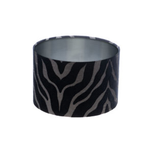 Tiger Stripe Black Grey Drum Lampshade Brushed Silver Inner