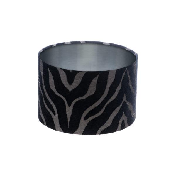 Tiger Stripe Black Grey Drum Lampshade Brushed Silver Inner