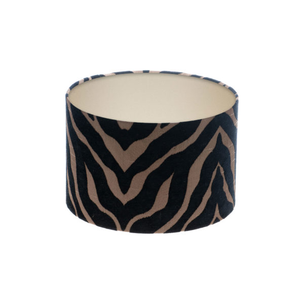 Tiger Stripe Black Bronze Drum Lampshade Champagne Inner