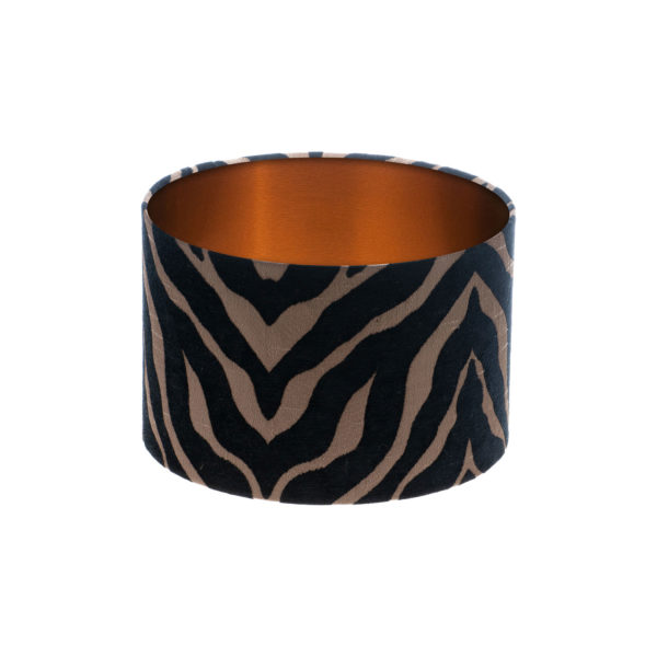Tiger Stripe Black Bronze Drum Lampshade Brushed Copper Inner