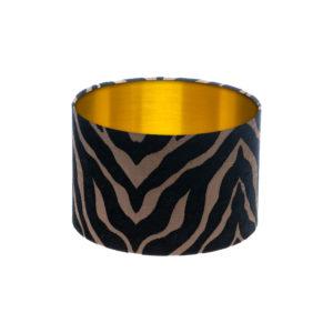 Tiger Stripe Black Bronze Drum Lampshade Brushed Gold Inner