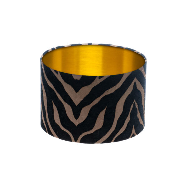 Tiger Stripe Black Bronze Drum Lampshade Brushed Gold Inner