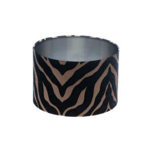 Tiger Stripe Black Bronze Drum Lampshade Brushed Silver Inner