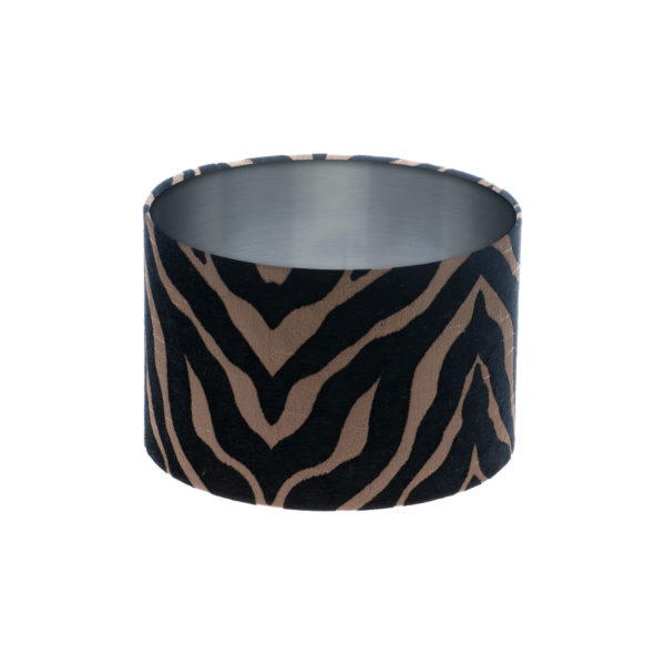 Tiger Stripe Black Bronze Drum Lampshade Brushed Silver Inner