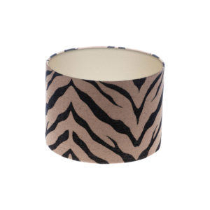 Tiger Stripe Bronze Black Drum Lampshade Champagne Inner