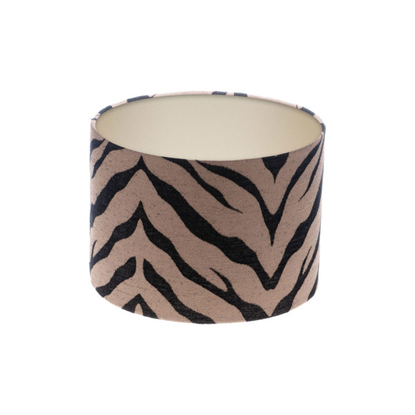 Tiger Stripe Bronze Black Drum Lampshade Champagne Inner