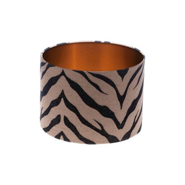 Tiger Stripe Bronze Black Drum Lampshade Brushed Copper Inner
