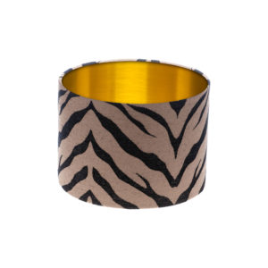 Tiger Stripe Bronze Black Drum Lampshade Brushed Gold Inner