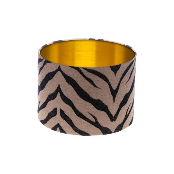 Tiger Stripe Bronze Black Drum Lampshade Brushed Gold Inner
