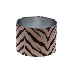 Tiger Stripe Bronze Black Drum Lampshade Brushed Silver Inner