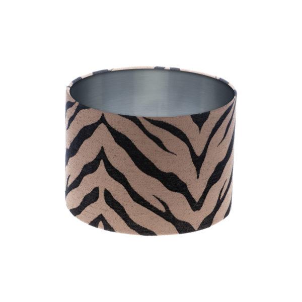 Tiger Stripe Bronze Black Drum Lampshade Brushed Silver Inner