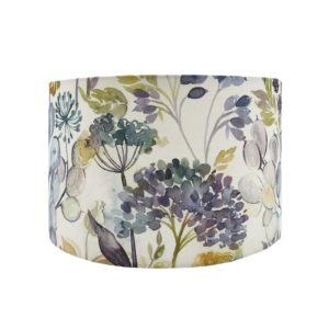 Voyage Hedgerow Sky Blue Floral Drum Lampshade