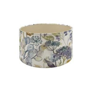 Voyage Hedgerow Sky Blue Floral Drum Lampshade Champagne Inner