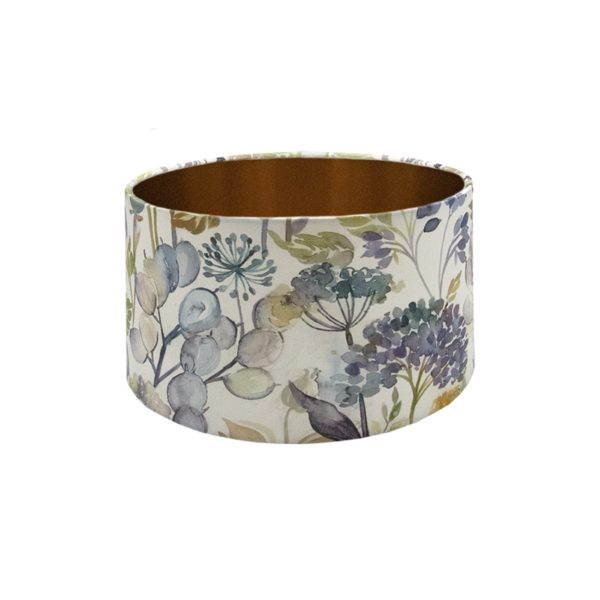 Voyage Hedgerow Sky Blue Floral Drum Lampshade Brushed Copper Inner