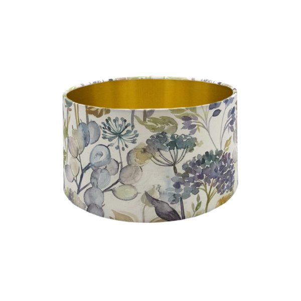 Voyage Hedgerow Sky Blue Floral Drum Lampshade Brushed Gold Inner