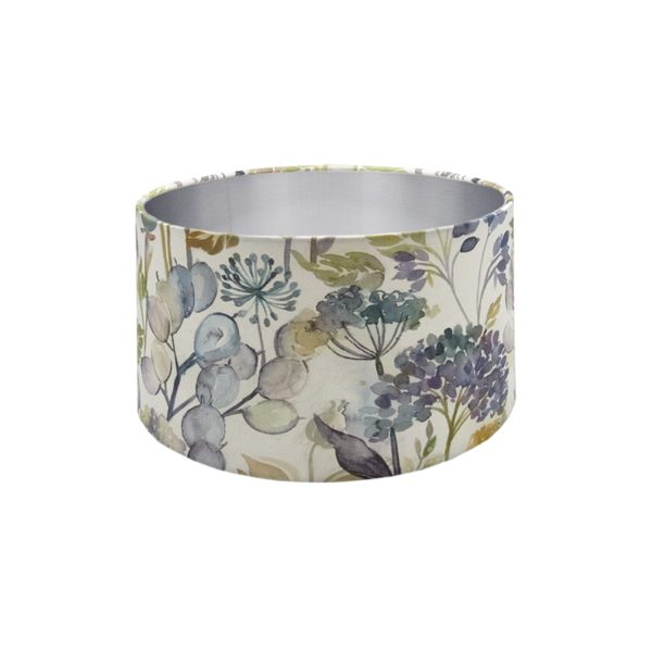 Voyage Hedgerow Sky Blue Floral Drum Lampshade Brushed Silver Inner