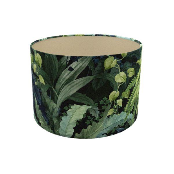 Botanical Leaf Drum Lampshade Champagne Inner
