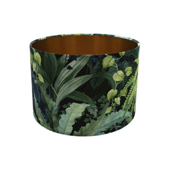 Botanical Leaf Drum Lampshade Brushed Copper Inner