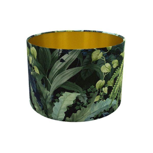 Botanical Leaf Drum Lampshade Brushed Gold Inner