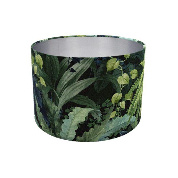 Botanical Leaf Drum Lampshade Brushed Silver Inner