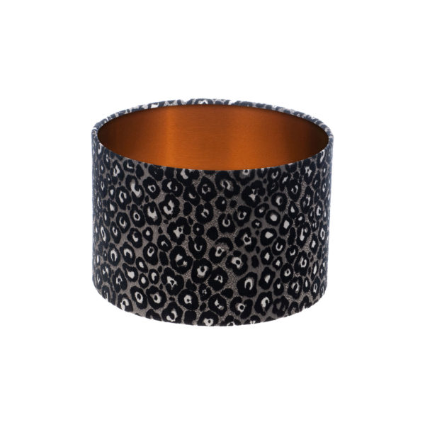 Leopard Print Drum Lampshade Brushed Copper Inner